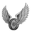 motorcycle wheel with eagle wings vector image