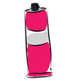 pink paint tube with white label on white vector image vector image