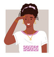 portrait young african woman with hairstyle vector image vector image
