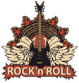 rock and roll banner with guitar wings speaker vector image vector image