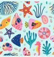 seamless pattern with underwater sea life vector image vector image