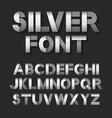 silver metallic font set vector image vector image