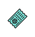 soccer ticket flat color icon isolated vector image