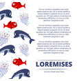 wild sea animals poster design - background with vector image vector image