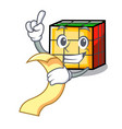 with menu rubik cube mascot cartoon vector image vector image