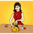 Woman puts sandwich to child bag comic vector image