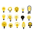 Cartoon light bulbs icons and objects vector image