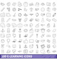 100 e-learning icons set outline style vector image