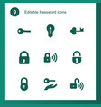 9 password icons vector image vector image