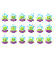 alien in ufo emoji set vector image