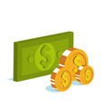 bills and coins isometric icon vector image