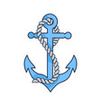 blue heavy anchor with rope isolated vector image vector image