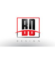 bo b o logo letters with red and black colors and vector image