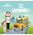 bus girl teacher back to school design vector image vector image