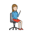 business woman person sitting office chair vector image vector image