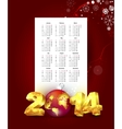Calendar for 2014 with New Year background vector image vector image