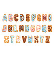 cartoon cookies font set confectioners stylized vector image vector image