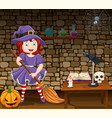 cartoon little witch holding a broomstick vector image vector image