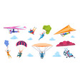 cartoon skydivers paraglider skydivers flat vector image vector image