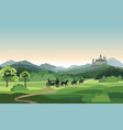 castle carriage knight mountains landscape rural vector image vector image