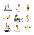 characters in the gym men and women fitness vector image vector image