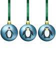 Christmas balls with penguins family vector image