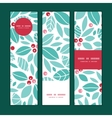 christmas holly berries vertical banners set vector image vector image