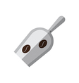 Coffee metal scoop with coffee beans vector image vector image