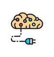 connected brain to circuit board artificial vector image vector image
