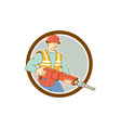 Construction Worker Jackhammer Circle Cartoon vector image vector image