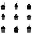 cupcake icon set vector image vector image