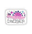 dinosaur patch badge cute cartoon pink animal vector image vector image