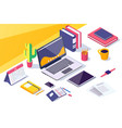 flat desktop workspace with laptop mobile phone vector image vector image