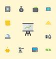 flat icons billfold growing chart ingot and vector image vector image