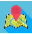 flat map icon with map pin and long shadow vector image vector image
