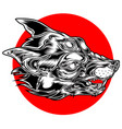 head fox alone tattoo on circle red vector image vector image