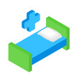 Hospital bed and cross isometric 3d icon vector image vector image