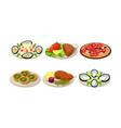 isolated flat set of appetizing dishes vector image