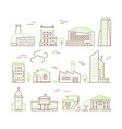 line art buildings urban living houses and villa vector image