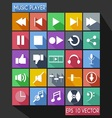 music player flat icon long shadow vector image vector image