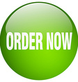 order now green round gel isolated push button vector image vector image