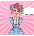 Pop Art Woman in Love with Flowers Hairstyle vector image vector image