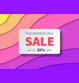 sale banner with paper cut colorful background vector image vector image
