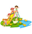 scene with many kids playing slide in the vector image vector image