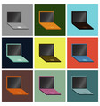 set icons in flat design laptop vector image