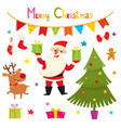 set of santa deers christmas elements vector image