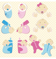 Set of Twins Baby Boy And Girl vector image