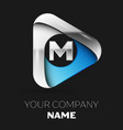 silver letter m logo in silver-blue triangle shape vector image