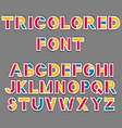 simple tricolored sticker font vector image