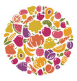 stylized icons of vegetables and fruit vector image vector image